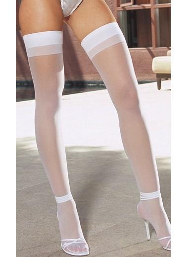 Merry See  Beyaz Dantelsiz Jartiyer Çorabı Beyaz